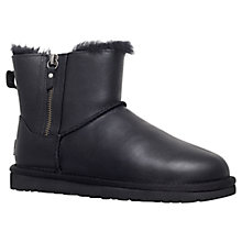 Buy UGG Classic Leather Mini Double Zip Ankle Boots, Black Online at johnlewis.com