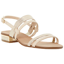 Buy Dune Jette Block Heel Slingback Leather Sandals, Nude Online at johnlewis.com