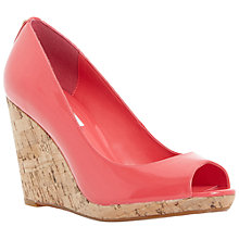 Buy Dune Celia Cork Wedge Peep Toe Patent Court Shoes, Fuschia Online at johnlewis.com