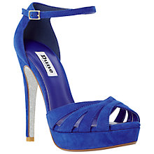 Buy Dune Miko Peep Toe Suede Sandals, Blue Online at johnlewis.com