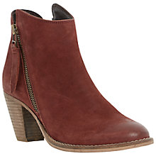 Buy Dune Pollie Nubuck Western Style Mid Heel Ankle Boots, Burgandy Online at johnlewis.com