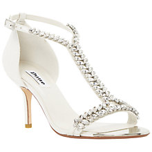 Buy Dune Melodee Embellished Leather Sandals, White Online at johnlewis.com