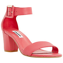 Buy Dune Joye Buckled Block Heel Leather Sandals, Pink Online at johnlewis.com