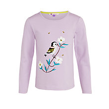 Buy John Lewis Girl Long Sleeve Bird T-Shirt, Purple Online at johnlewis.com