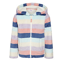 Buy John Lewis Girl Fluffy Stripe Hoodied Sweatshirt, Multi Online at johnlewis.com