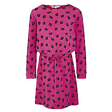 Buy John Lewis Girl Cotton Leopard Print Dress, Pink Online at johnlewis.com