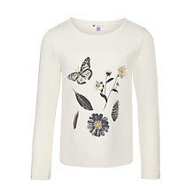 Buy John Lewis Girl Fashion Butterfly Floral Print T-Shirt, White Online at johnlewis.com