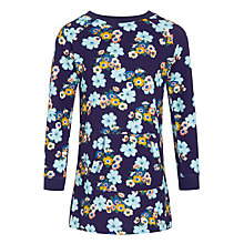 Buy John Lewis Girl Long Sleeve Floral Sweatshirt Dress, Navy Online at johnlewis.com