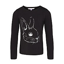 Buy John Lewis Girl Long Sleeve Rabbit T-Shirt, Black Online at johnlewis.com