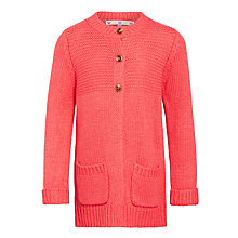 Buy John Lewis Girl Chunky Knit Long Line Cardigan, Pink Online at johnlewis.com