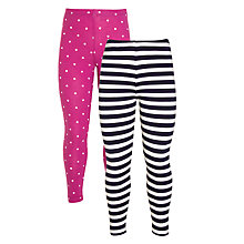 Buy John Lewis Girl Stripy and Spotty Leggings, Pack of 2 Online at johnlewis.com