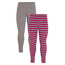 Buy John Lewis Girl Spot Stripe Leggings, Pack of 2, Grey/Pink Online at johnlewis.com