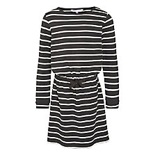 Buy John Lewis Girl Striped Long Sleeve Dress, Black/White Online at johnlewis.com