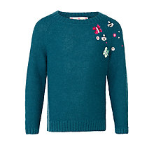 Buy John Lewis Girl Sequin Butterfly Jumper, Teal Online at johnlewis.com