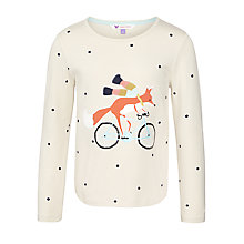 Buy John Lewis Girl Fox On Bike Top, Natural Online at johnlewis.com