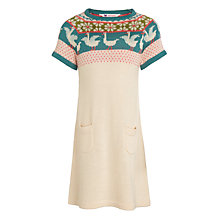 Buy John Lewis Girl Short Sleeve Knitted Dress, Cream/Multi Online at johnlewis.com