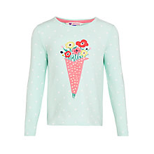 Buy John Lewis Girl Graphic Flower T-Shirt, Pastel Blue Online at johnlewis.com