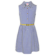 Buy John Lewis Girl Chevron Cotton Button Dress, Blue Online at johnlewis.com