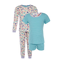 Buy John Lewis Girl Butterfly Striped Pyjama Set, Pack of 2, Green/Multi Online at johnlewis.com