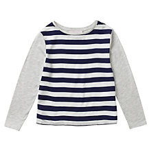 Buy Jigsaw Junior Girls' Stripe Front T-Shirt, Grey/Navy Online at johnlewis.com