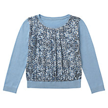 Buy Jigsaw Junior Girls' Floral Print Front Fine Jumper, Blue Online at johnlewis.com