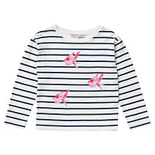 Buy Jigsaw Junior Girls' Stripe Breton Bird T-Shirt, White/Navy Online at johnlewis.com