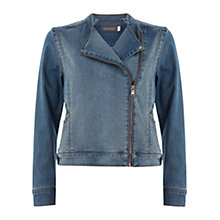 Buy Mint Velvet Denim Biker Jacket, Blue Online at johnlewis.com