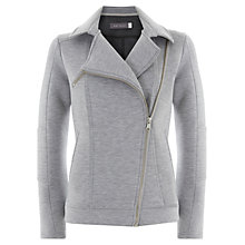 Buy Mint Velvet Jersey Biker Jacket, Grey Online at johnlewis.com