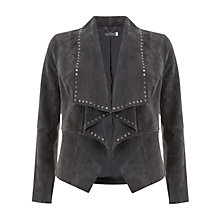 Buy Mint Velvet Suede Waterfall Jacket, Grey Steel Online at johnlewis.com