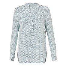 Buy Jigsaw Fine Geometric Silk Blouse, Ivory Online at johnlewis.com