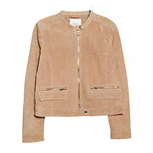 Buy Mango Zipped Peccary Jacket, Light Beige Online at johnlewis.com