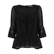 Buy Mint Velvet Victoriana Top, Black Online at johnlewis.com