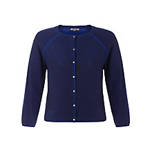 Buy Jigsaw Cotton Blend Plated Cardigan, Blue Online at johnlewis.com