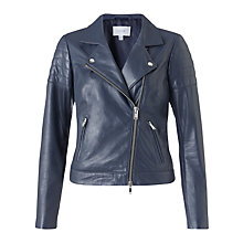 Buy Jigsaw Quilted Sleeve Leather Biker Jacket, Navy Online at johnlewis.com