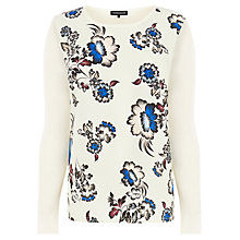 Buy Warehouse Floral Woven Front Jumper, Cream Online at johnlewis.com