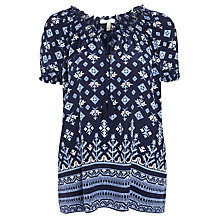 Buy Joie Masha Silk Border Printed Top, Navy Porcelain Online at johnlewis.com