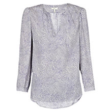 Buy Joie Pearline Printed Silk Top, Dark Navy / Porcelain Online at johnlewis.com