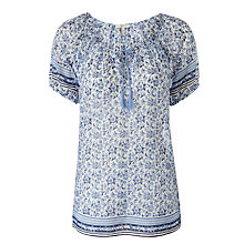 Buy Joie Tanger Cotton Silk Blend Blouse, Porelain Sunset Blue Online at johnlewis.com