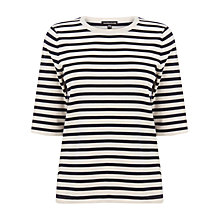 Buy Warehouse Stripe Yarn Compact Jumper, Blue/White Online at johnlewis.com