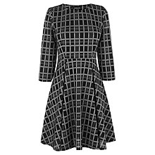 Buy Warehouse Checked Skater Dress, Black Online at johnlewis.com