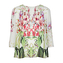 Buy Ted Baker Zumbel Mirrored Tropics Pleated Blouse, Cream Online at johnlewis.com