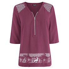 Buy Warehouse Airtex and Lace Hem Top Online at johnlewis.com