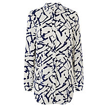 Buy Warehouse Texture Print Layer Shirt, White/Blue Online at johnlewis.com