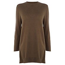 Buy Warehouse High Neck Side Split Jumper, Khaki Online at johnlewis.com