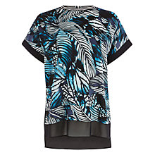 Buy Warehouse Impact Palm Print T-Shirt, Blue Online at johnlewis.com