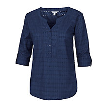 Buy Fat Face Whiteley Broderie Popover Top, Indigo Online at johnlewis.com