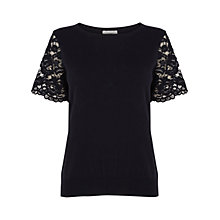Buy Coast Esme Lace Sleeve Knit Top, Navy Online at johnlewis.com