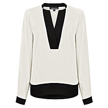 Buy Warehouse V-Neck Dip Back Blouse, White Online at johnlewis.com