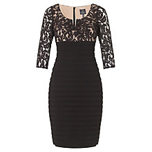 Buy Adrianna Papell Pleated Neck Lace Jersey Dress, Black Online at johnlewis.com