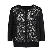 Buy Planet Lace Front Cardigan, Black Online at johnlewis.com